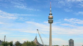 TV tower at the Olympic park in Munich, Germany. Olympic park in Munich, Germany in spring stock footage