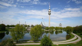 TV tower at the Olympic park in Munich, Germany. In spring stock video