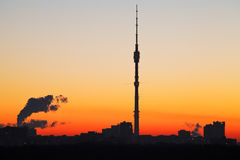TV tower and orange sunrise in Moscow Royalty Free Stock Images