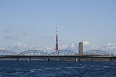 TV tower and railroad bridge in Riga Royalty Free Stock Photography