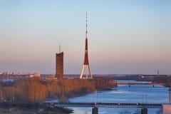 TV tower of Riga. TV tower along the Daugava in Riga, Latvia Royalty Free Stock Image
