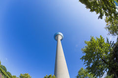 Tv tower with some trees in front isolated on blue sky, duesseld Stock Photo