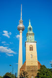TV Tower and st. Mary's church Stock Photo