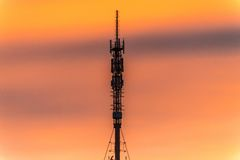 TV tower at sunset in Orenburg city Stock Image