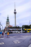 The TV Tower or Toothpick and Architecture in Berlin in Germany Royalty Free Stock Photography