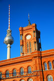 TV tower and Town-hall Royalty Free Stock Photos