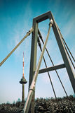 TV tower. Vilnius TV tower and bridge stock photography
