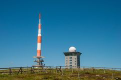 The TV transmission tower on top of Brocken Mountain. In Germany stock image