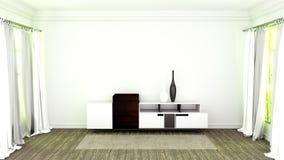 TV-tribune met houten bevloering op witte muurachtergrond het 3d teruggeven vector illustratie