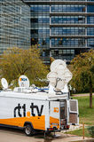 Tv Truck with satellite parabolic antenna frm N24 channel Royalty Free Stock Image