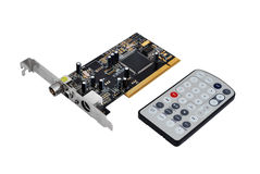 TV tuner card and remote control Royalty Free Stock Photography