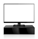 TV with TV stand isolated Stock Image