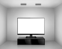 TV with TV stand in a room. High Definition TV with TV stand in a room Royalty Free Stock Photography