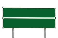 Två tvärgatavägmärken, grön isolerad bakgrund för utrymme för kopia för trafiktecken, stor detaljerad Closeup, vit ram Arkivfoton