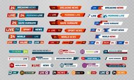 TV-uitzendingstitel De televisie-omroep kanaliseert banners, toont titels en het nieuws leeft videobanner vectorreeks royalty-vrije illustratie