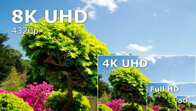 TV ultra HD. 8K television resolution technology. HDTV Ultra HD concept royalty free stock image