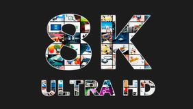 TV ultra HD. 8K television resolution technology. Royalty Free Stock Image