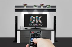 TV ultra HD technologie de résolution de la télévision 8K Photographie stock libre de droits