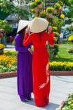 Två unga vietnamesiska kvinnor i traditionell Ao Dai klär Fotografering för Bildbyråer