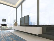 TV unit beige with black accents with retractable TV and a large window decor. 3d rendering vector illustration