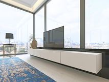 TV unit beige with black accents with retractable TV and a large window decor. 3d rendering royalty free illustration