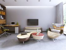 TV unit in a contemporary living room with work space. Royalty Free Stock Photography