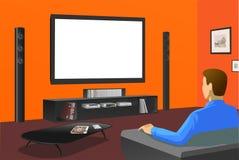 TV van het horloge in oranje ruimte Royalty-vrije Stock Afbeeldingen