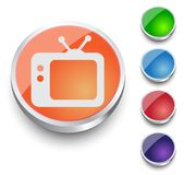 TV vector icon. Retro tv icon. Round button set Stock Images