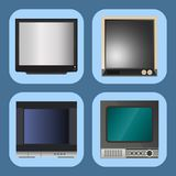 TV vector screen lcd monitor and notebook, tablet computer, retro templates. Electronic devices TV screens infographic Royalty Free Stock Photos