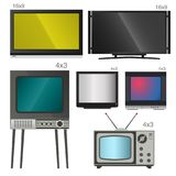 TV vector screen lcd monitor and notebook, tablet computer, retro templates. Electronic devices TV screens infographic. Technology digital device tv-screens Royalty Free Stock Photography