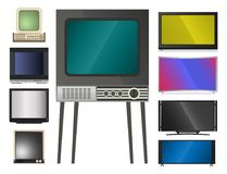 TV vector screen lcd monitor and notebook, tablet computer, retro templates. Electronic devices TV screens infographic. Technology digital device tv-screens Stock Photos