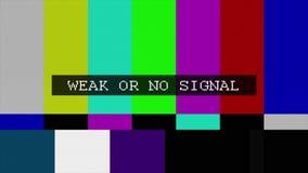 TV vervormd signaal met ge?tiketteerd stock footage