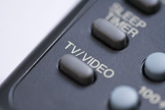 TV video button. Close up of TV Video button on a remote control stock photo