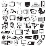 Tv video and camera black icons Stock Image
