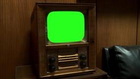 TV vieja con la pantalla verde almacen de metraje de vídeo