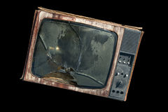 TV vieja con una pantalla quebrada Fotos de archivo