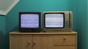 TV vieja ninguna señal almacen de metraje de vídeo
