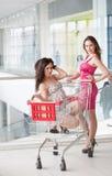 Två vänner med köp Royaltyfri Foto