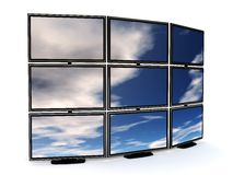 Tv wall. 3d illustration of presentation tv wall over white background Royalty Free Stock Image