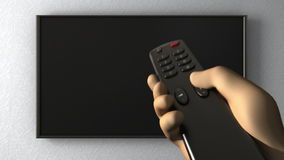 TV on the wall. Turning channels with a remote control. 3d animation stock video footage