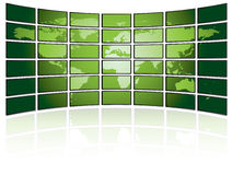 TV wall with world map Stock Photos