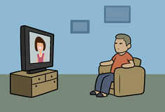 TV watcher Stock Images