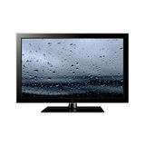 Tv with water drops on screen Stock Photos