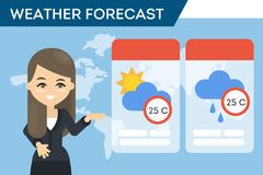 TV weather forecast. Fmale presenter showing the weather Stock Image