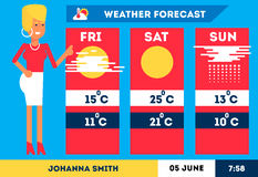 TV weather woman reporter Royalty Free Stock Image