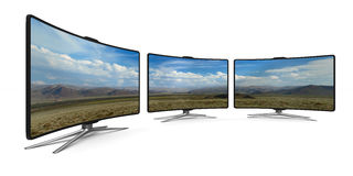 TV on white background. Isolated 3D Stock Photo