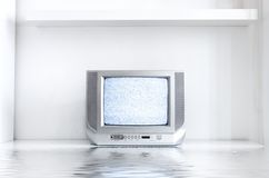 TV in white interior stock photos