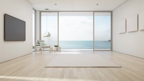 Sea view living room of luxury summer beach house with large glass door and wooden terrace. TV on white wall against big gray sofa in vacation home or holiday royalty free illustration