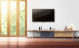 Tv on white wall empty living room interior Stock Image