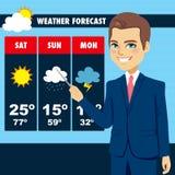 TV wiadomości pogody reportera mężczyzna ilustracji